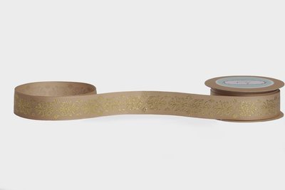 Desert Sand Gold Foiled Ribbon - Traditional Motif