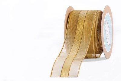 Gold Checkered Centre Sheer Ribbon