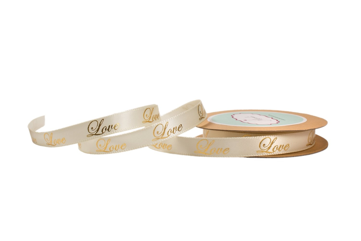Off- white Satin Ribbon with Love printed in Gold