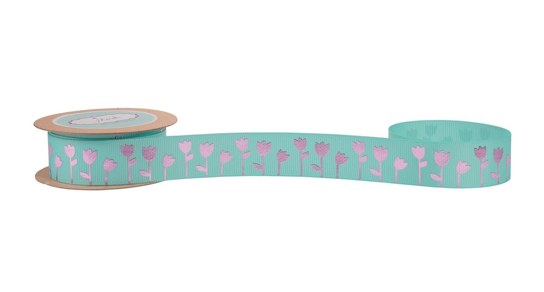 Aqua Grosgrain Ribbon with Pink Foiled (Tulip)Flowers