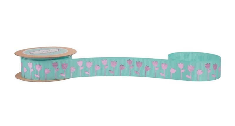 Aqua Grosgrain Ribbon with Pink Foiled (Tulip)Flowers