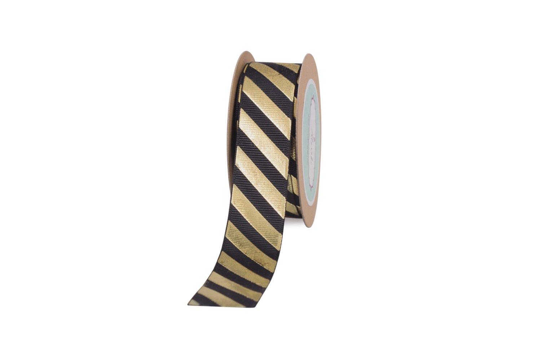 Black Grosgrain With Gold Diagonal Stripes