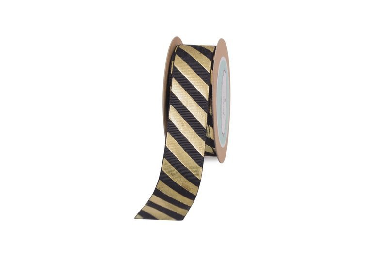 Black Grosgrain With Gold Diagonal Stripes