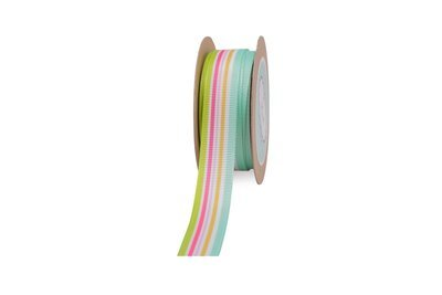 White Grosgrain Ribbon with Candy coloured Stripes