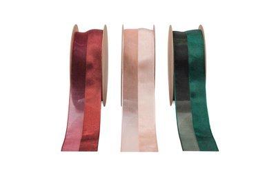 Half Sheer Half Satin Ribbon- Red, Champagne Emerald Green