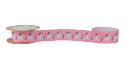 Pink Printed Grosgrain with Small Unicorns
