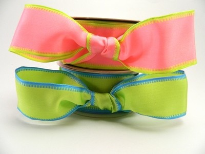 Bright Green, Pink with Woven Contrast Edges