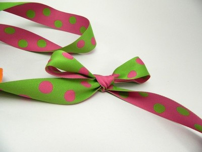Reversible - Magenta and Green Woven Polka dots