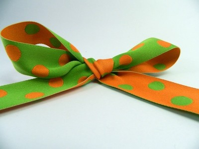 Reversible - Orange and Green Woven Polka dots