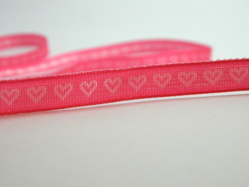 Hot Pink - With woven Silver Hearts