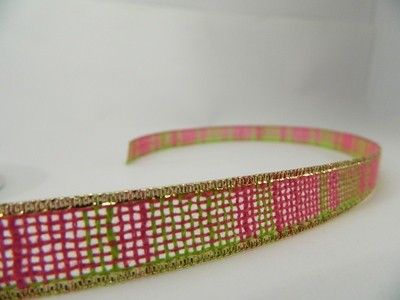 Faux Jute- Green and Dark Pink with Gold Trim