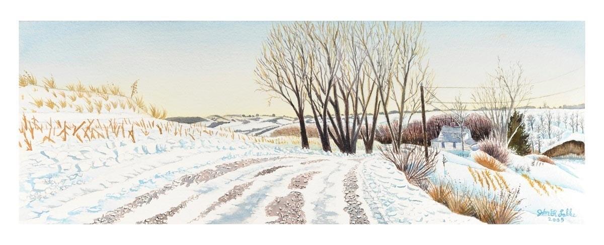 Barada Hills, Richardson County, Nebraska, School #1 Road in Winter, Nebraska, Unframed