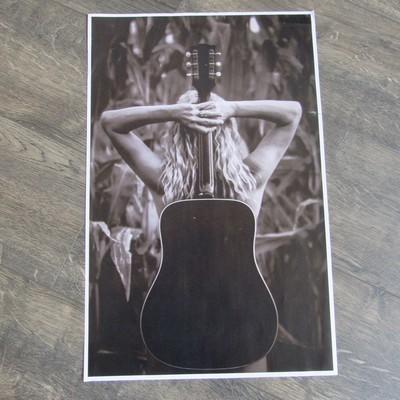 Guitar-Cornfield Poster