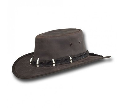 LEATHER OUTBACK HAT WITH GENUINE CROCODILE HAT BAND
