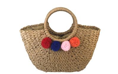 Maria - Half moon bag with pompoms