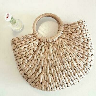 Ariel - Half Moon Structured Straw Bag