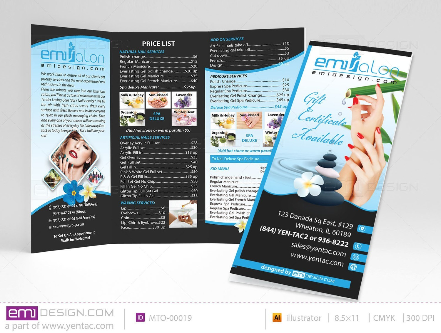 Menu-Take-Out Size 8.5x11 Tri-Fold Templates MTO-00019