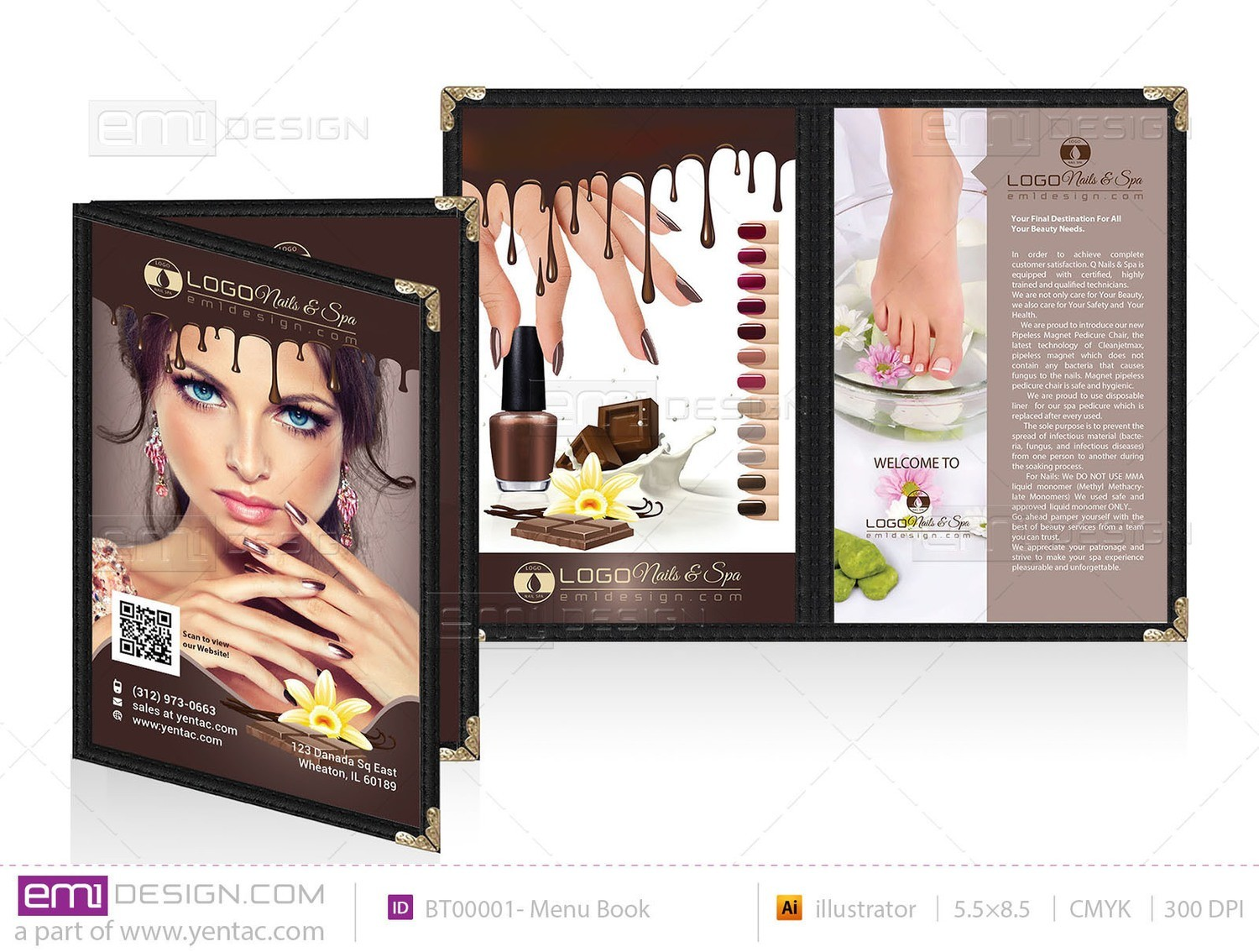03 - Menu Book 5.5 x 8.5 - Chocolate Brown Color Template#: BT00001