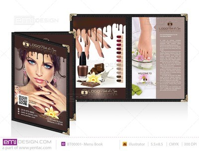 Menu Book 5.5 x 8.5 - Chocolate Brown Color Template#: BT00001