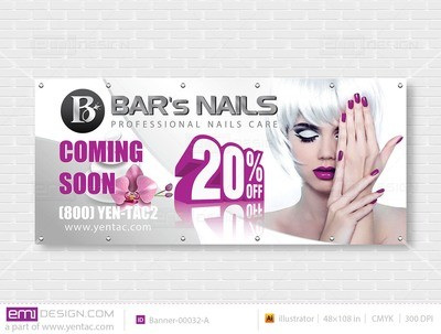 Outdoor Banner - Size 4x9 With Picture Template: 00032-A