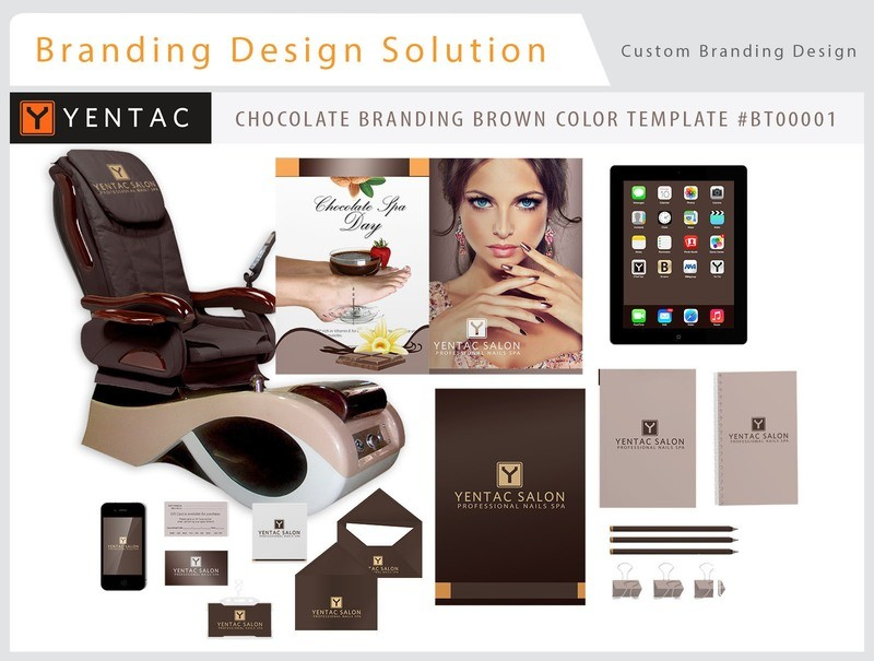 Chocolate Brand Brown Color - Stationary Mockup - YENTAC Nail Salon Templates:  BT000001