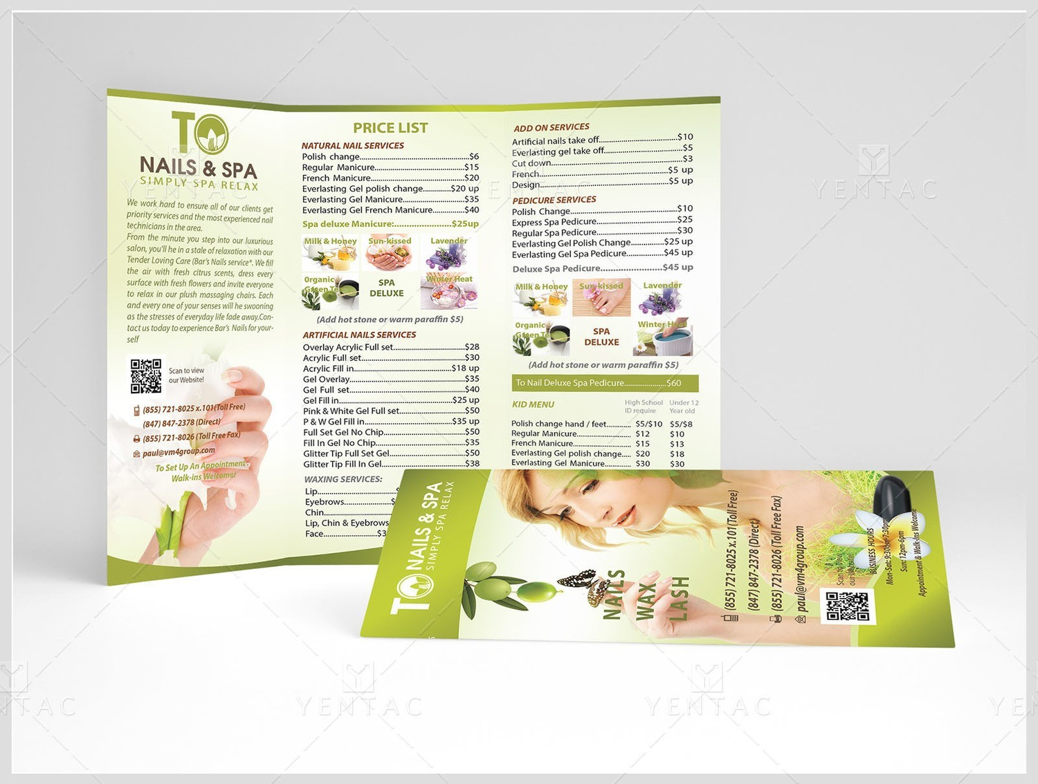 Menu-Take-Out Size 8.5x11 Tri-Fold (Letter Size) - Nail Salon #3011 TO Brand
