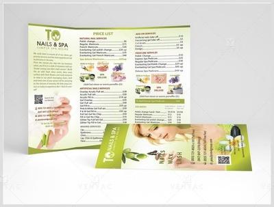 Menu-Take-Out Size 8.5x11 Tri-Fold (Letter Size) - Nail Salon #3011 TO Brand