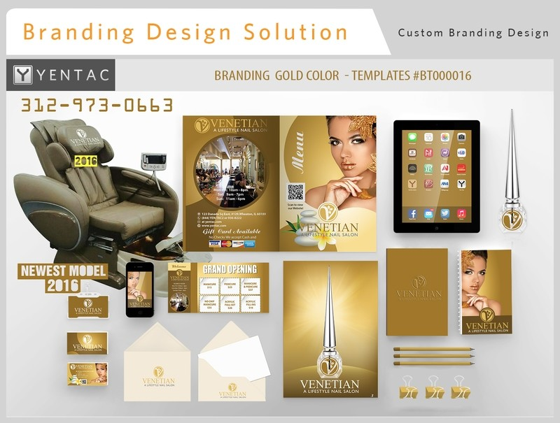 Gold Full Branding Color - Stationary Mockup - YENTAC Nail Salon Templates #BT000016