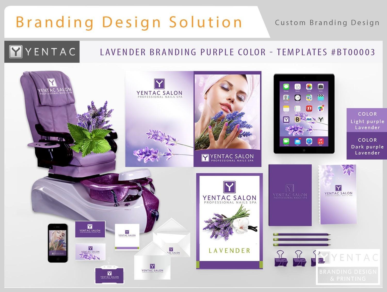Purple Branding Lavender Color - Stationary Mockup - YENTAC Nail Salon Templates:  BT000003