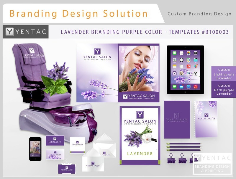 Purple Branding Lavender Color - Stationary Mockup - YENTAC Nail Salon Templates:  BT000003