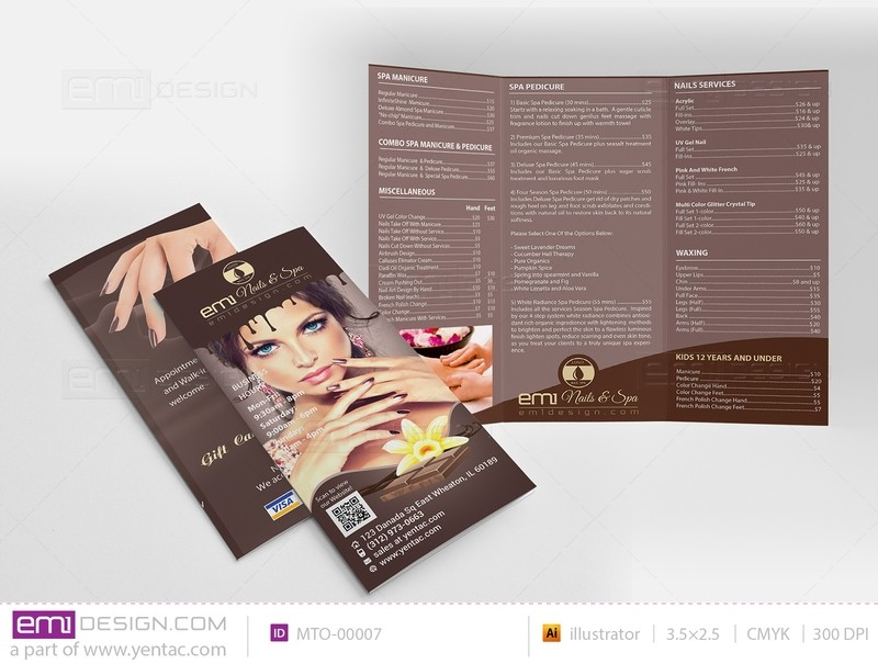 04.1 - Menu-Take-Out Size 8.5x11 Tri-Fold - Chocolate Brown Color Template #BT00001