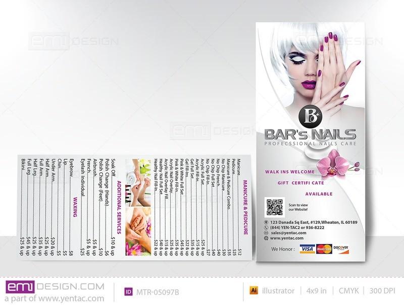 Menu Take Out - Rack Card - Size 4x9 - Template MTR-05097B