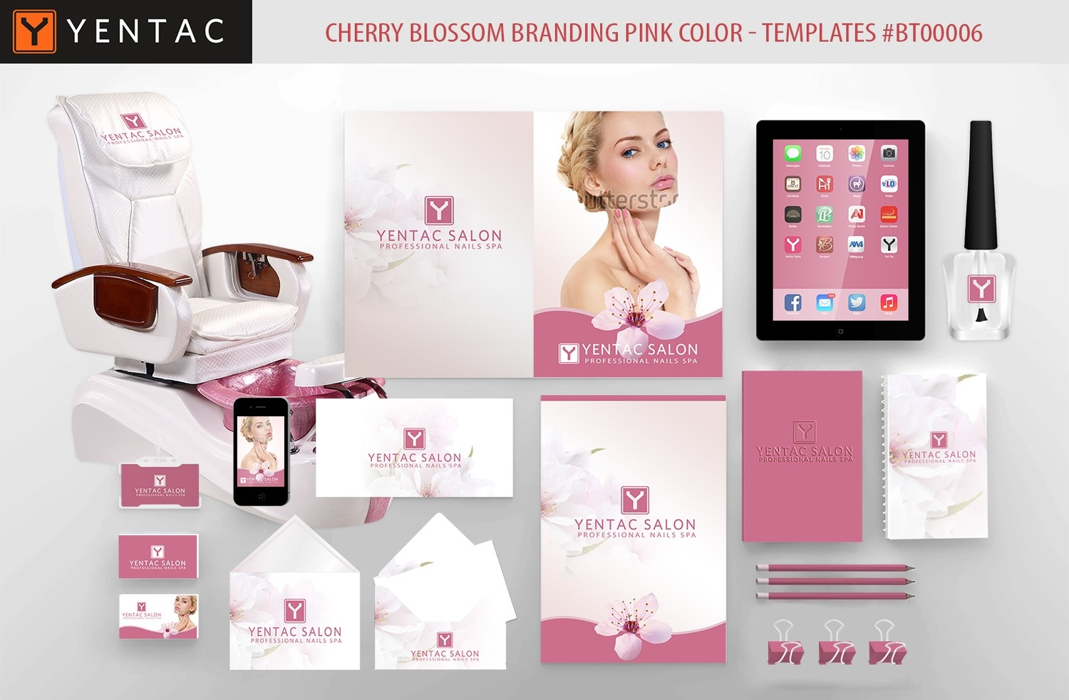 Cherry Blossom Branding  Pink Color - Stationary Mockup - YENTAC Nail Salon Templates:  BT000006