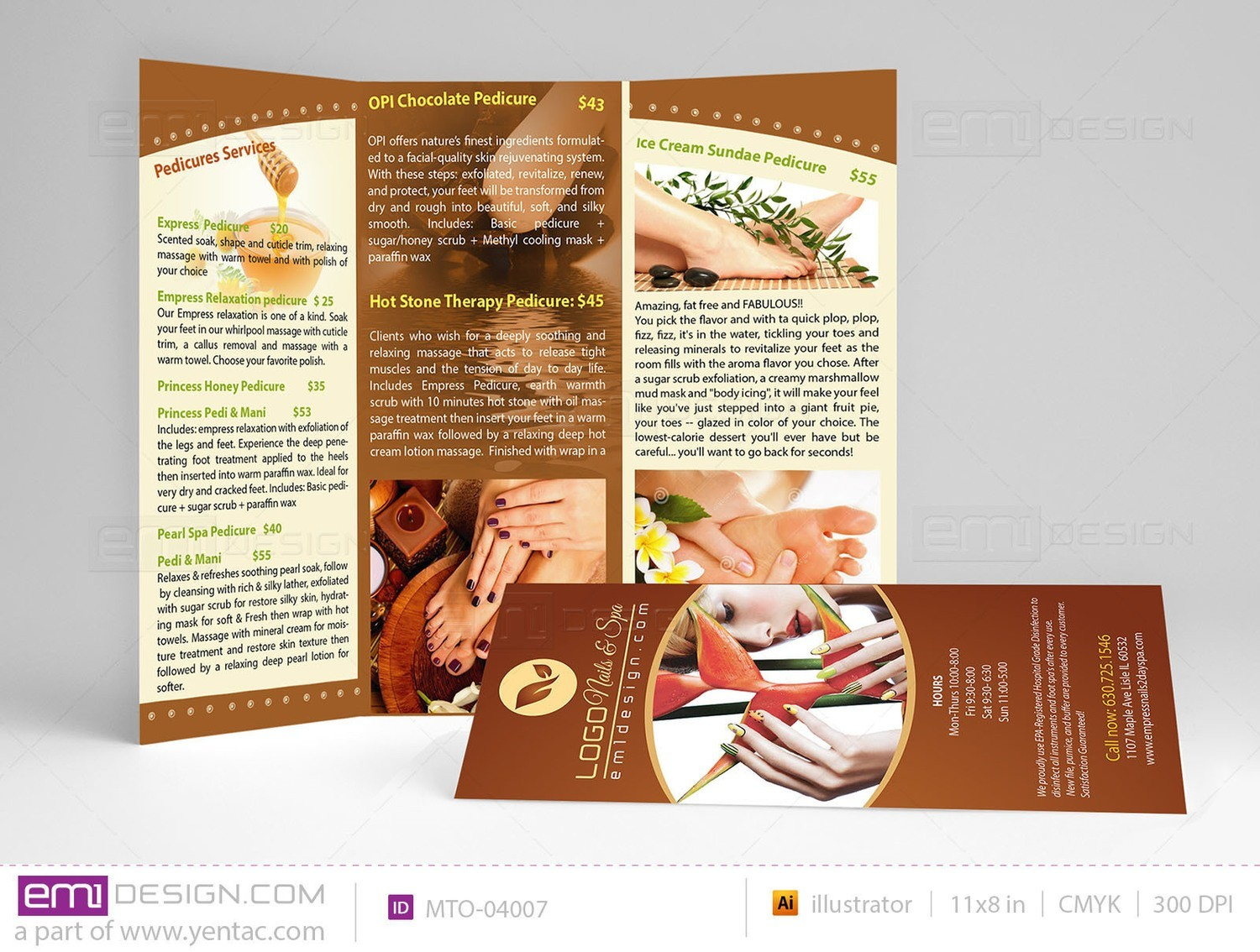 Menu-Take-Out Size 8.5x11 Tri-Fold Templates mto-04007
