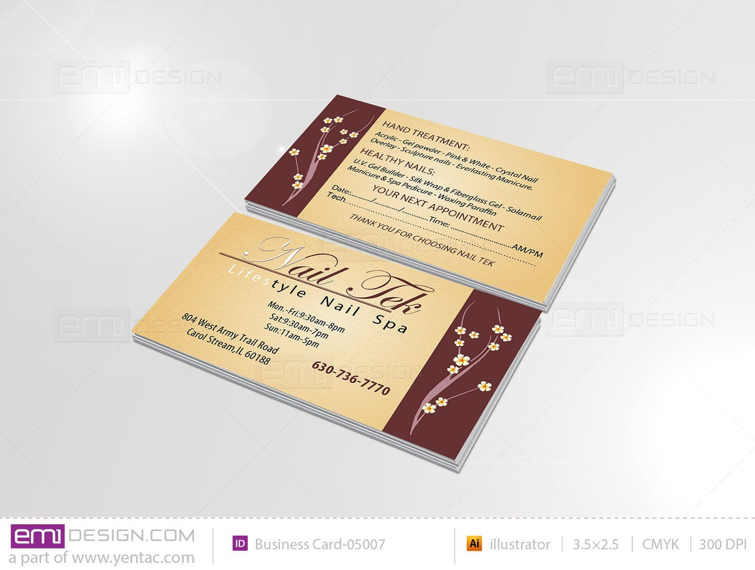 Business Card - Template BusCard-05007 - NailTek