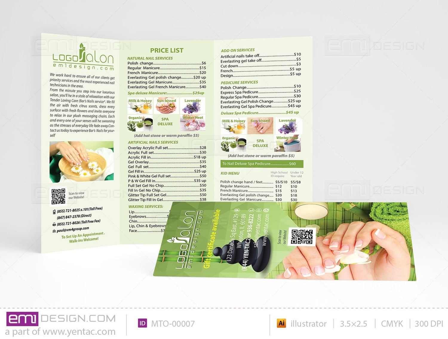 Menu-Take-Out Size 8.5x11 Tri-Fold Templates MTO-00007