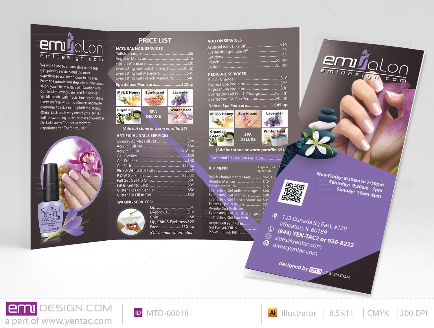 Menu-Take-Out Size 8.5x11 Tri-Fold Templates MTO-00018