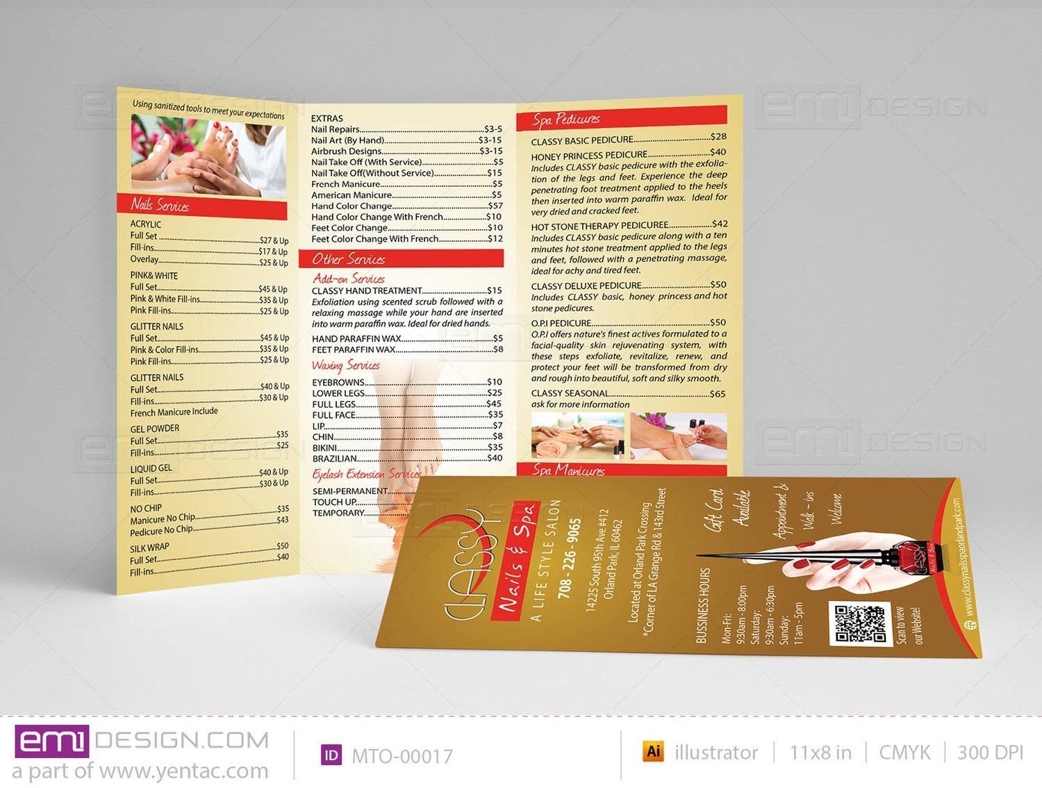 Menu-Take-Out Size 8.5x11 Tri-Fold Templates MTO-00017