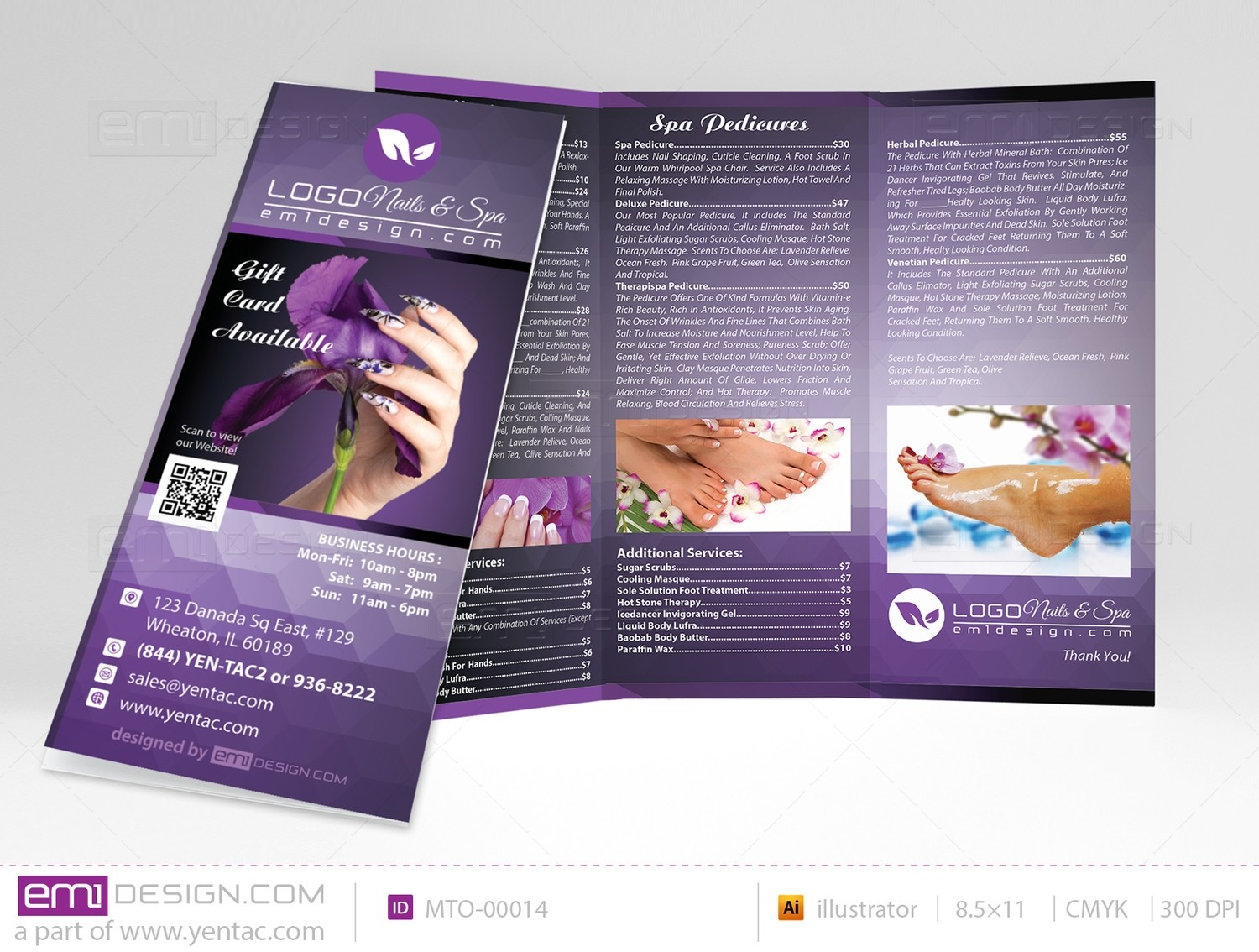 Menu-Take-Out Size 8.5x11 Tri-Fold Templates MTO-00014
