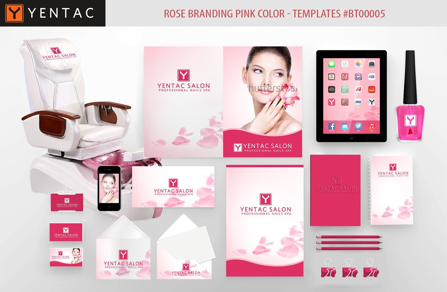 Rose Branding  Pink Color - Stationary Mockup - YENTAC Nail Salon Templates:  BT000005
