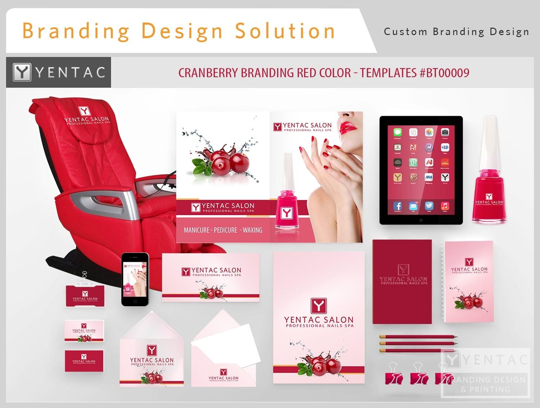 Red Branding Cranberry Color - Stationary Mockup - YENTAC Nail Salon Templates #BT000009