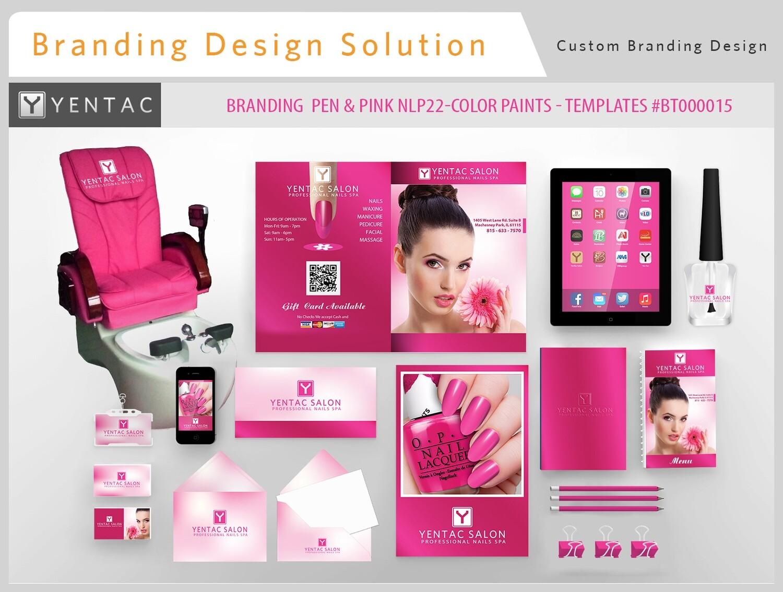 Pink Branding NLP22-Color - Stationary Mockup - YENTAC Nail Salon Templates #BT000015