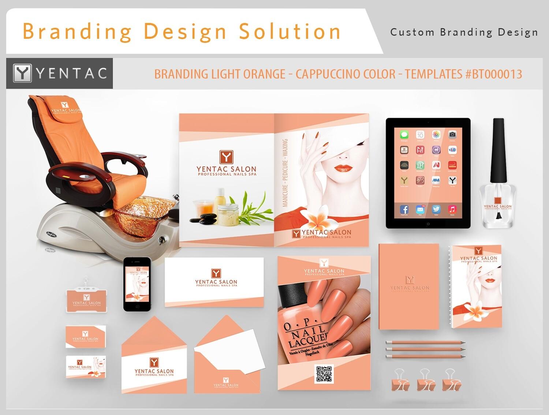 Light Orange Branding Cappuccino Color - Stationary Mockup - YENTAC Nail Salon Templates #BT000013