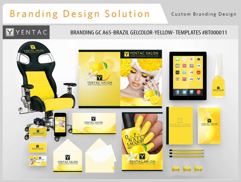 Yellow Branding Brazil GelColor - Stationary Mockup - YENTAC Nail Salon Templates:  BT000011
