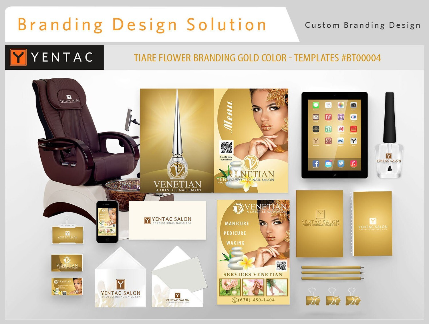 Tiare Branding  Gold Color - Stationary Mockup - YENTAC Nail Salon Templates:  BT000004