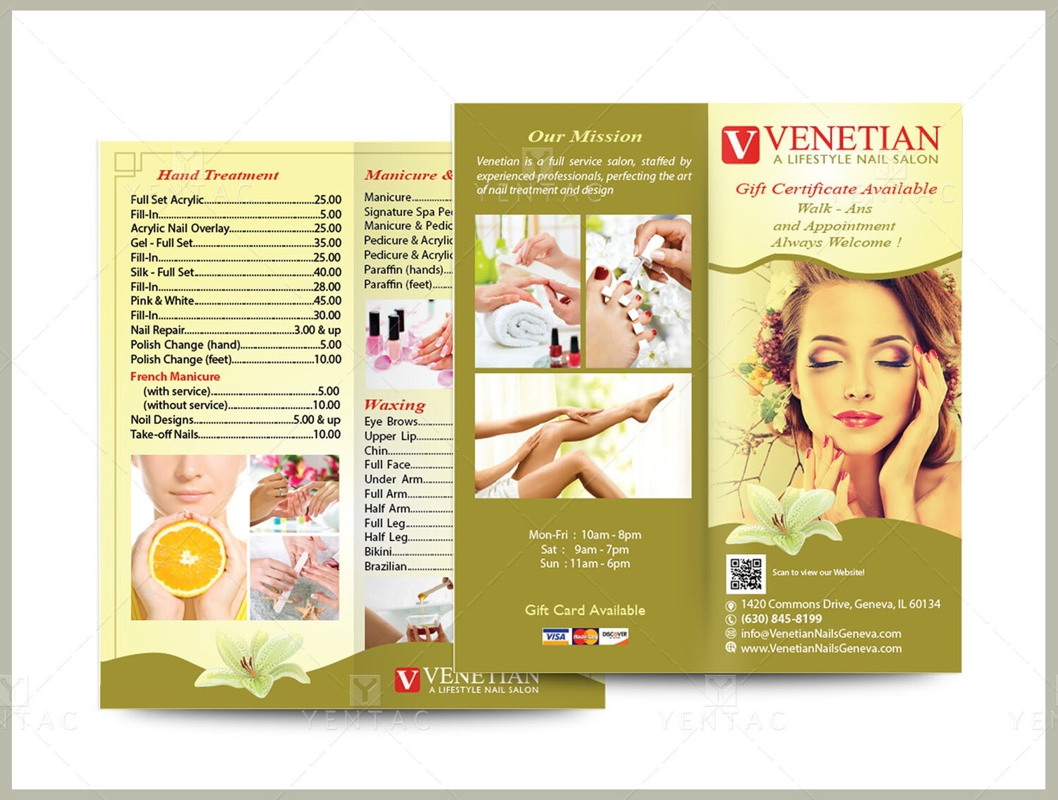 04.3 - Menu Take Out - Double Fold Size 8.5x7.5 - Venetian Nails Spa #5051 Salon
