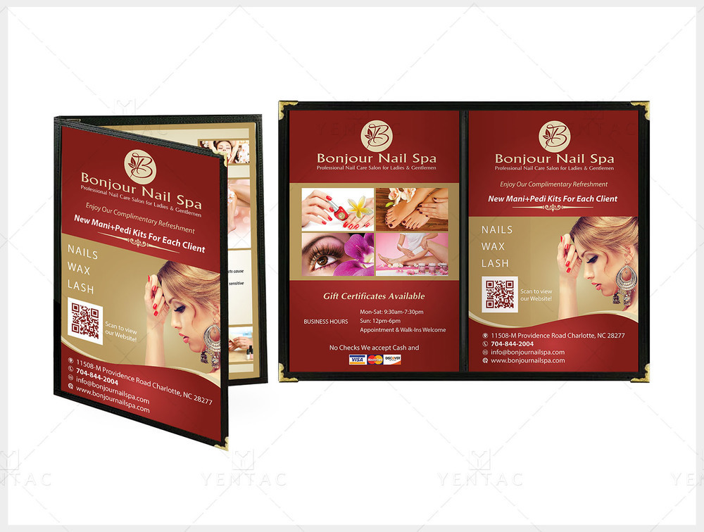 Menu Book Size 8.5x11 - Client ID #5070 Bonjour Brand