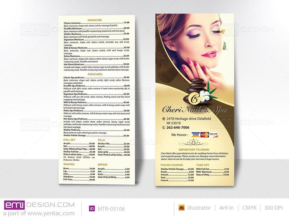 04.2 - Menu Take Out - Rack Card - Size 4x9 - Template MTR-05106