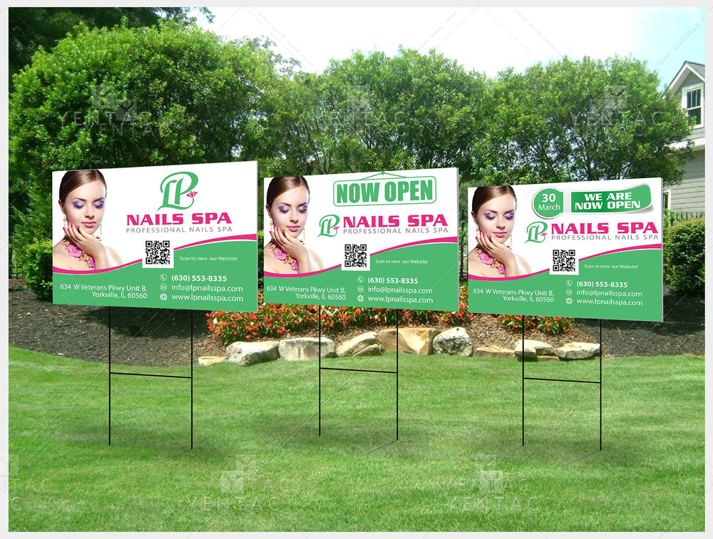 05 - Outdoor Banner Yard Sign - Size 2x3 With Picture - LP Nails Spa #5069 Salon