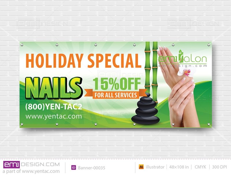 Banner - Outdoor Size 4x9 No Picture Template: 00035-B